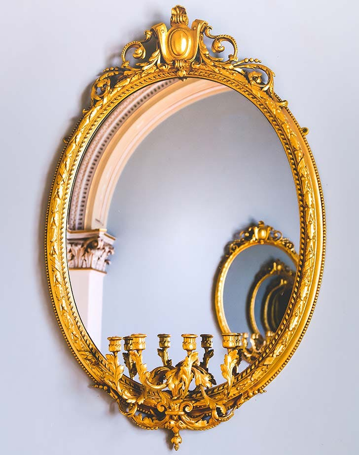 antique brass mirror 728