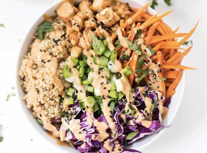 asian quinoa tofu goddess bowl recipe