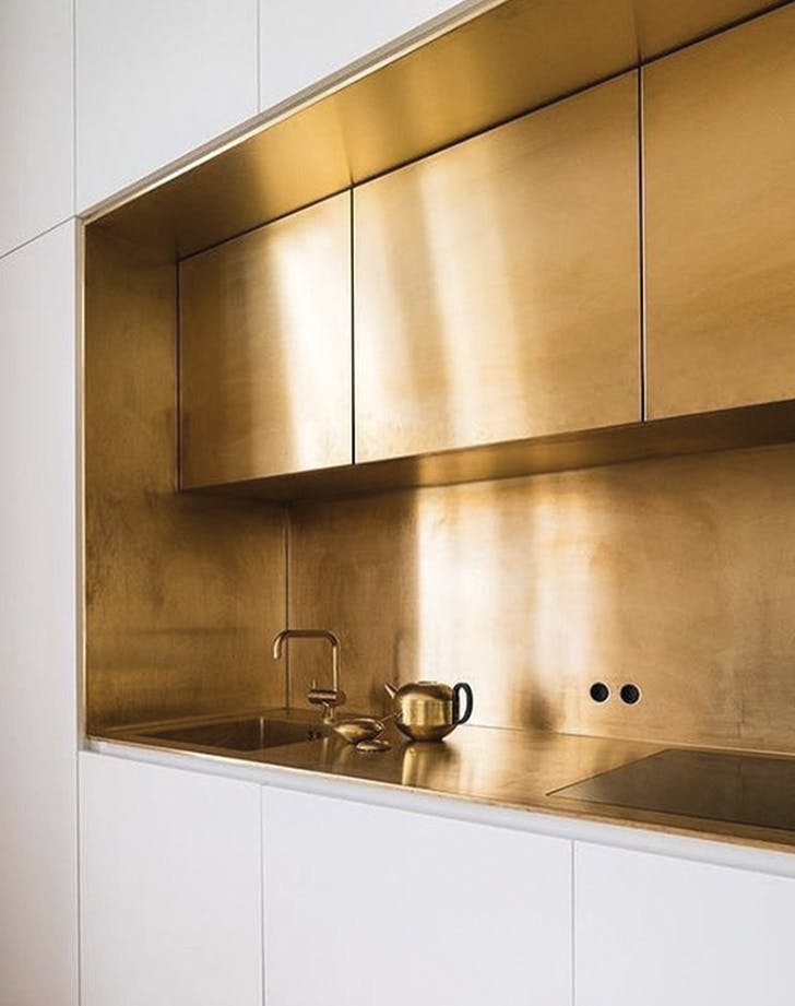 brass kitchen backsplash