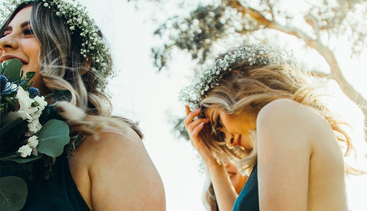 bridesmaids getting ready on the big day