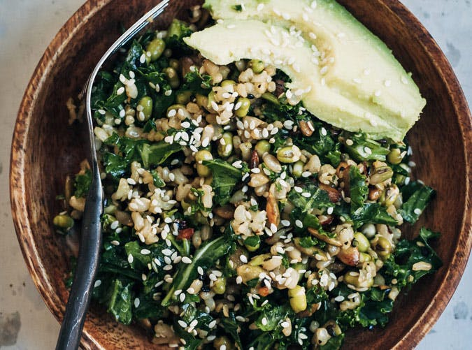 brown rice salad with kale and sesame seeds recipe