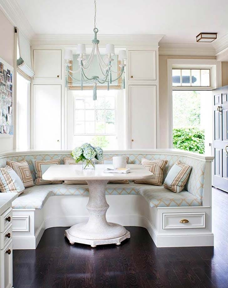 built in banquette kitchen