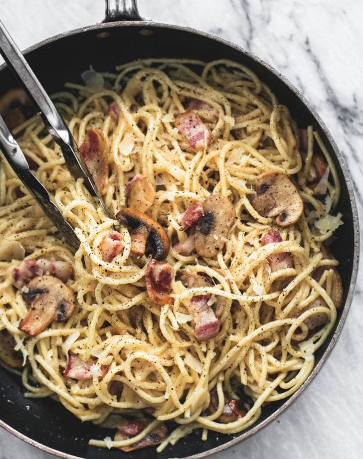 cacio e pepe with mushrooms and bacon recipe