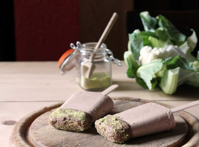 cauliflower chocolate lollies pistachio dust recipe