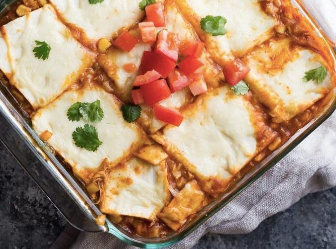cauliflower rice chicken enchillada casserole recipe