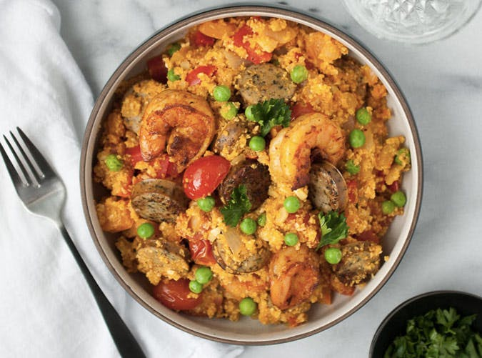 cauliflower rice paella recipe