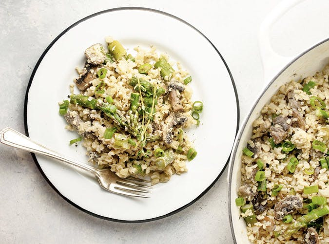 cauliflower rice risotto with asparagus and mushrooms recipe