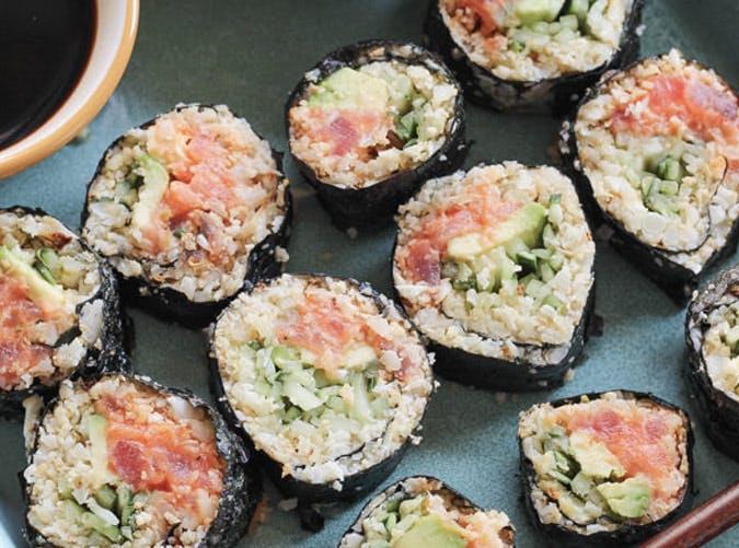 cauliflower rice spicy tuna rolls recipe