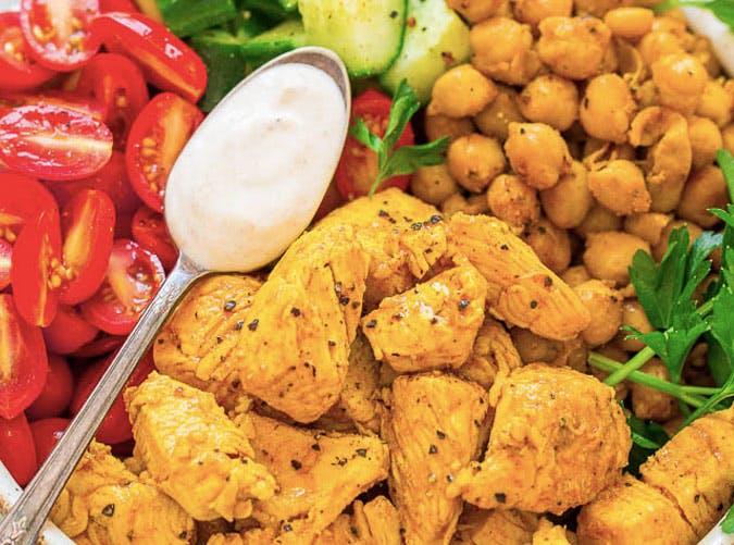 chicken shawarma salad bowl recipe