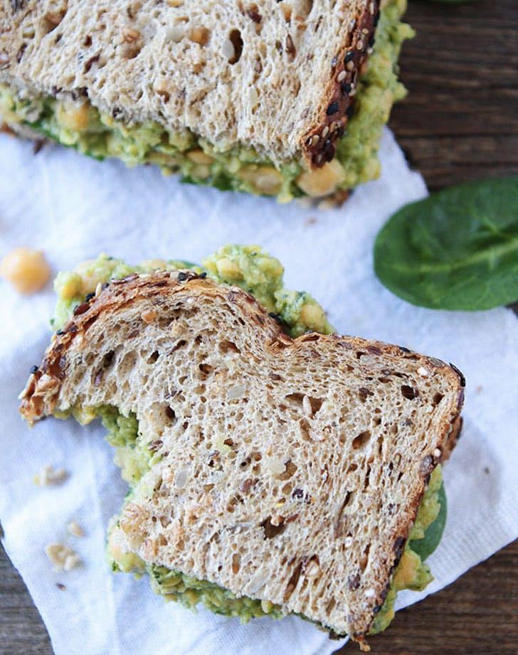 chickpea avocado and pesto salad sandwich recipe
