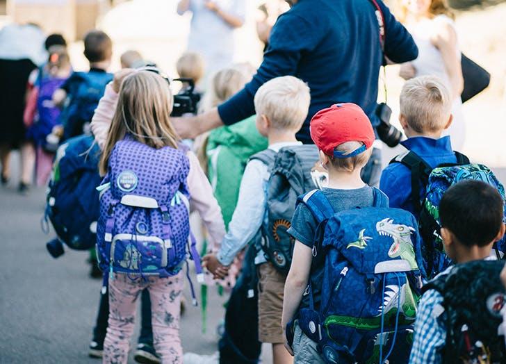 children in line school