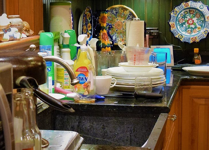 dishes by sink