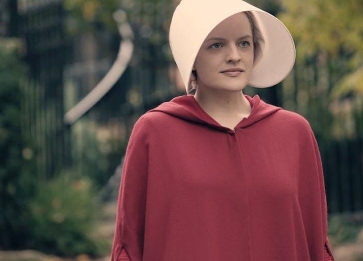 elizabeth moss as offred in the handmaids tale