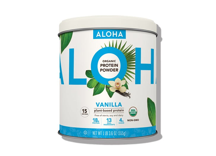 jar of aloha vanilla protein powder