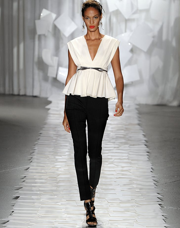 joan smalls models a peplum top by jason wu in 2012