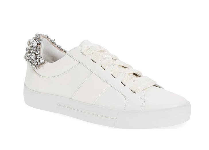 joie white sneakers with crystals