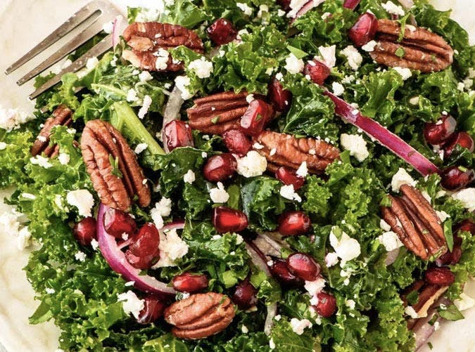 kale salad with pomegranate and pecans recipe