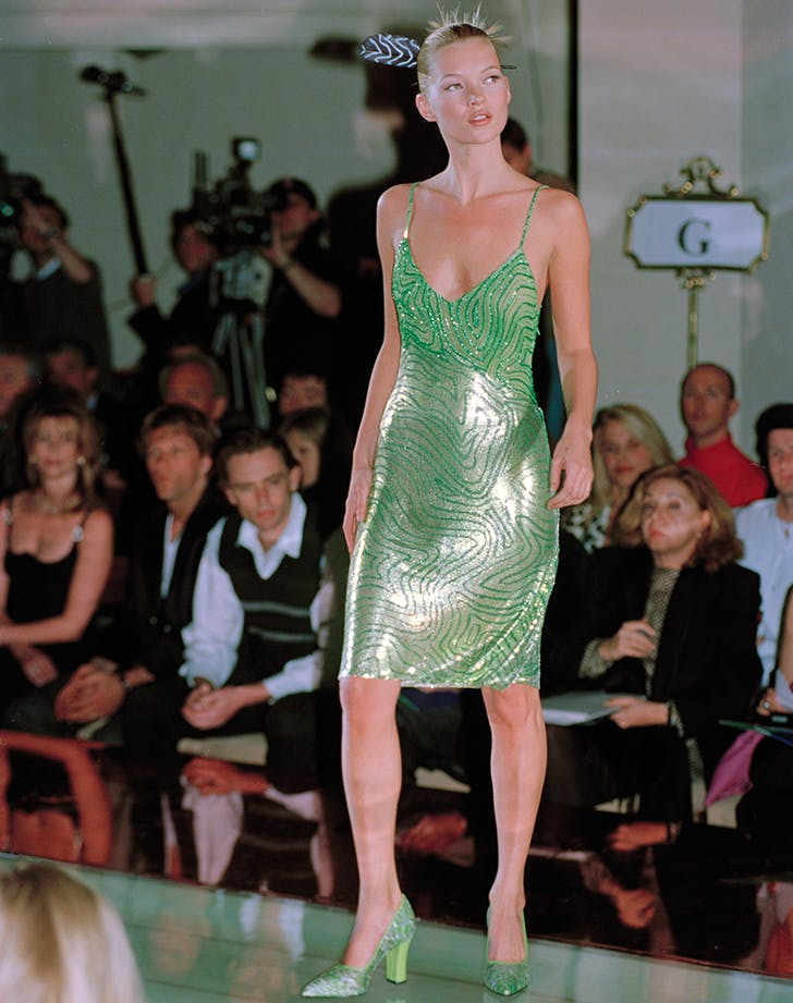kate moss models a versace slip dress in the 90s