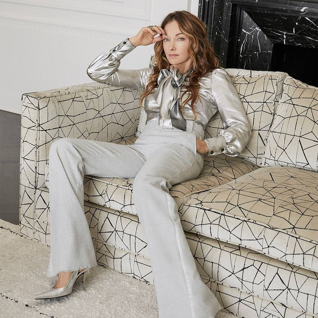 kelly wearstler using her couch for sartorial inspiration