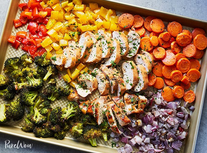 ketogenic sheet pan chicken and rainbow veggies recipe