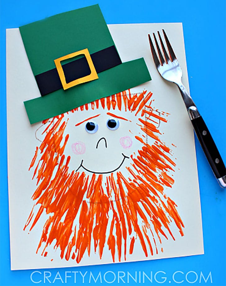 leprechaun craft with a fork beard st patricks day kids craft