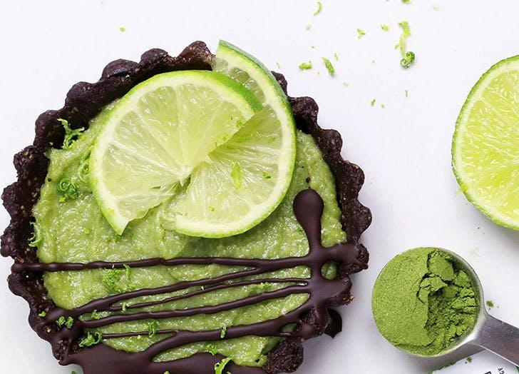 lime moringa chocolate tarts