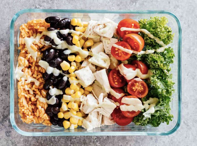meal prep southwest chicken burrito bowl recipe