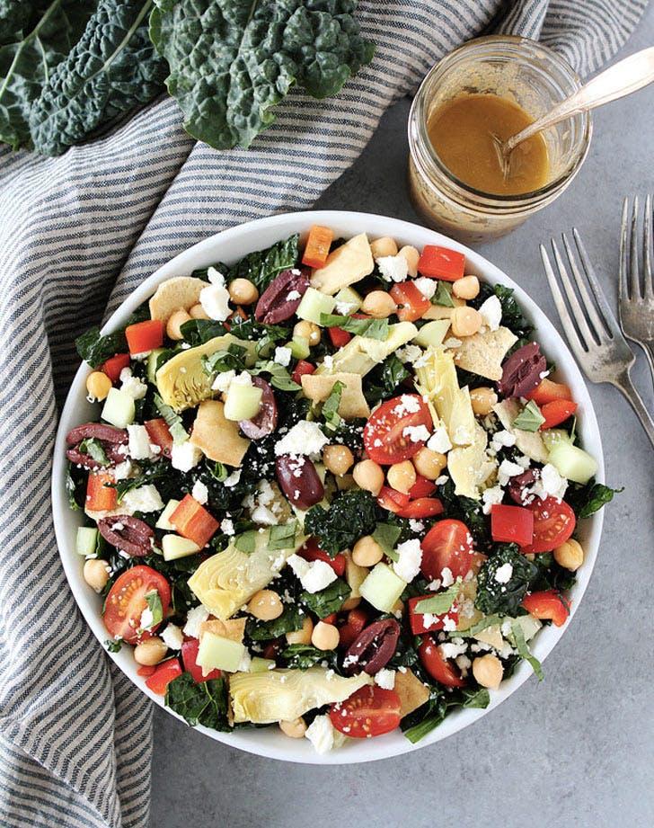 mediterranean kale salad with hummus dressing recipe