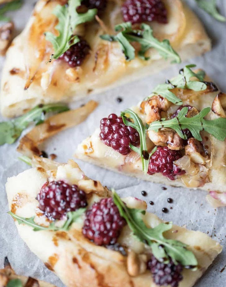 mini brie blackberry pizzas recipe