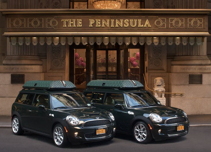 mini coopers at the peninsula hotel