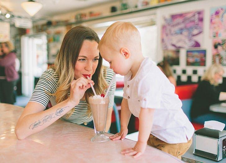 mom boy milkshake