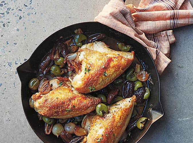 pan roasted chicken shallots dates recipe