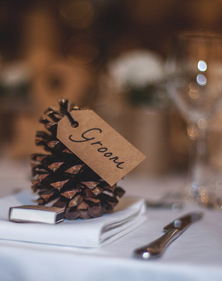 pinecone wedding place card
