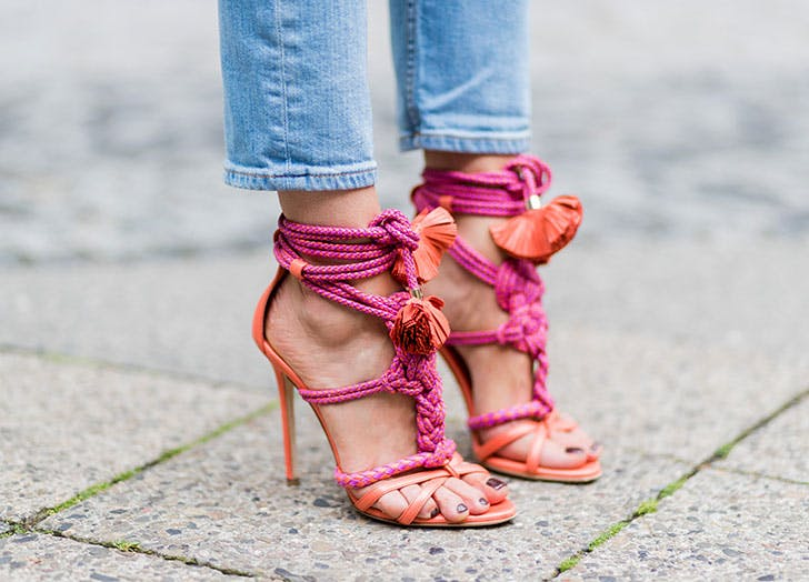 pink braided strappy sandals