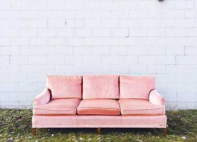 pink couch outside