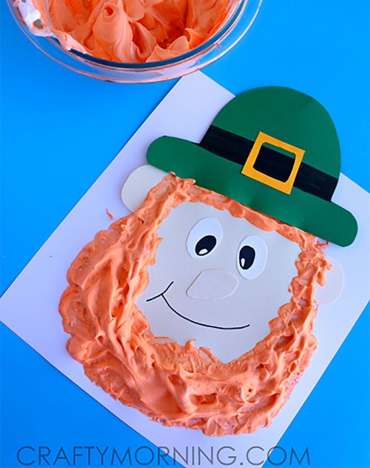 puffy paint leprechaun st patricks day craft for kids