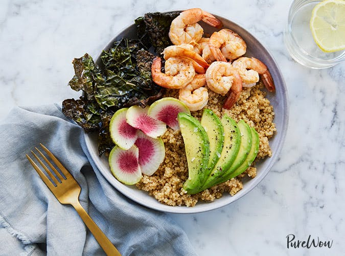 quinoa bowl with kale shrimp and avocado recipe