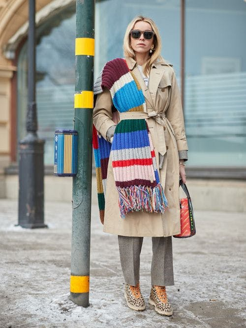 rainbow scarf draped over the shoulder