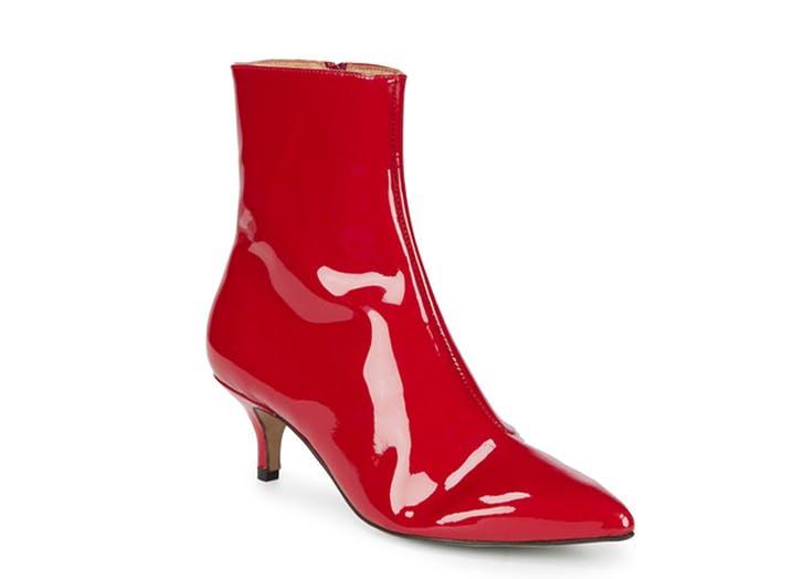 renvy red patent kitten heel booties
