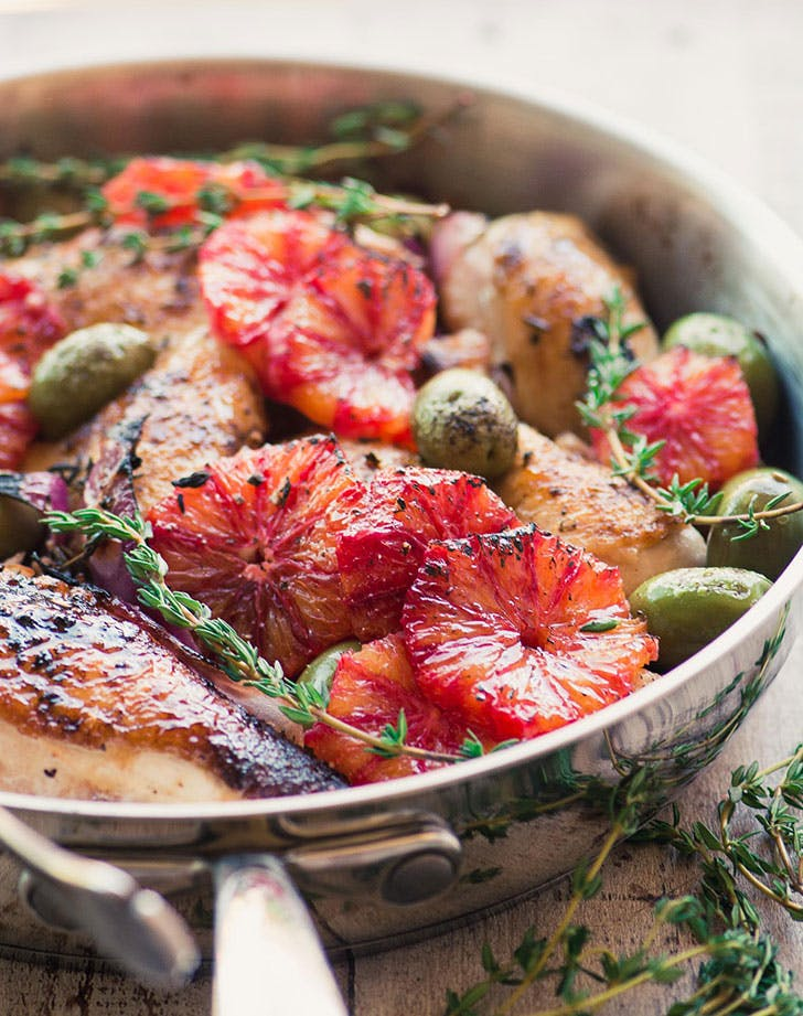roast chicken with blood oranges and olives