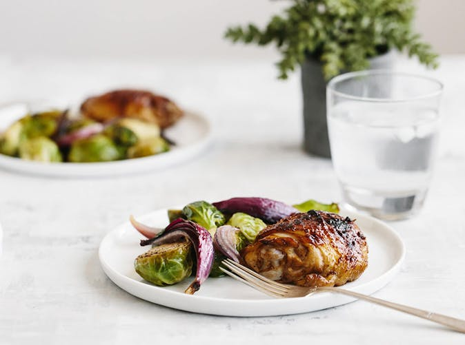 roasted balsamic chicken and brussels sprouts recipe