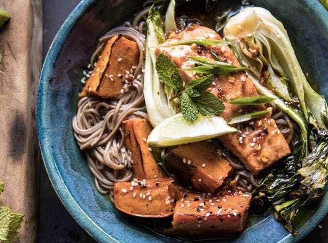 roasted sweet potato and salmon soba noodle bowl recipe