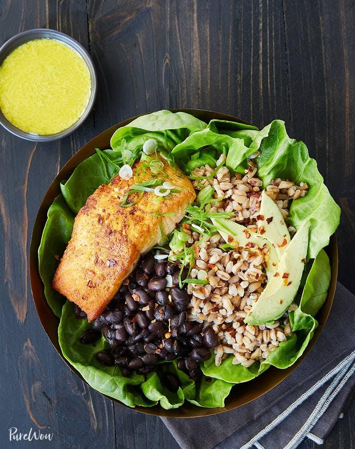 salmon bowl with tahini turmeric dressing