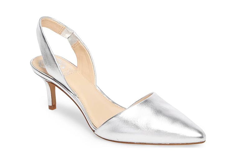 silver slingback kitten heel pumps vince camuto