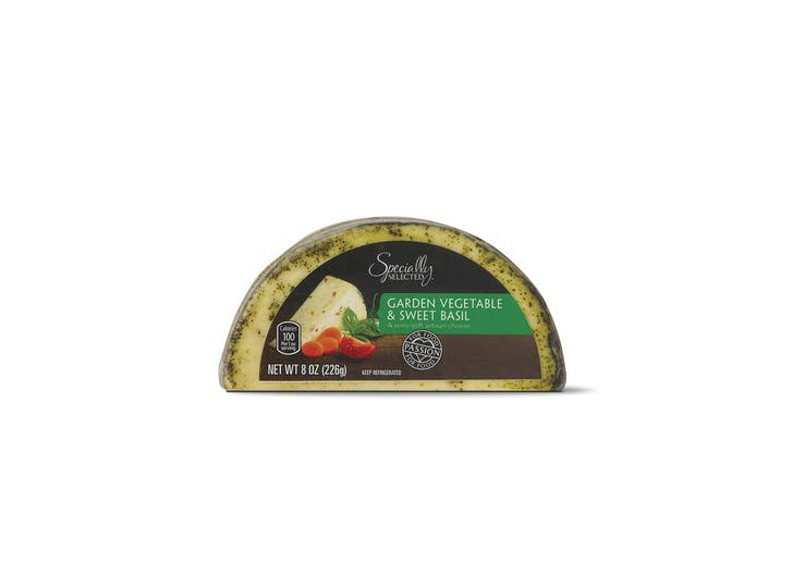specially selected garden vegetable and sweet basil hand crafted cheese