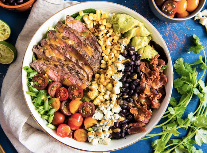 spicy cobb salad with cajun grilled steak recipe