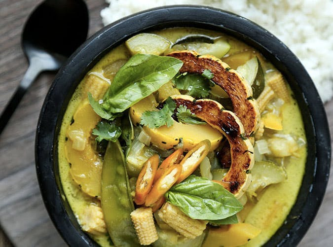 thai green curry with delicata squash recipe