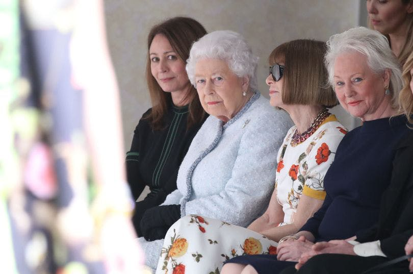 the queen of england attends london fashion week