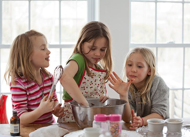 three girls baking