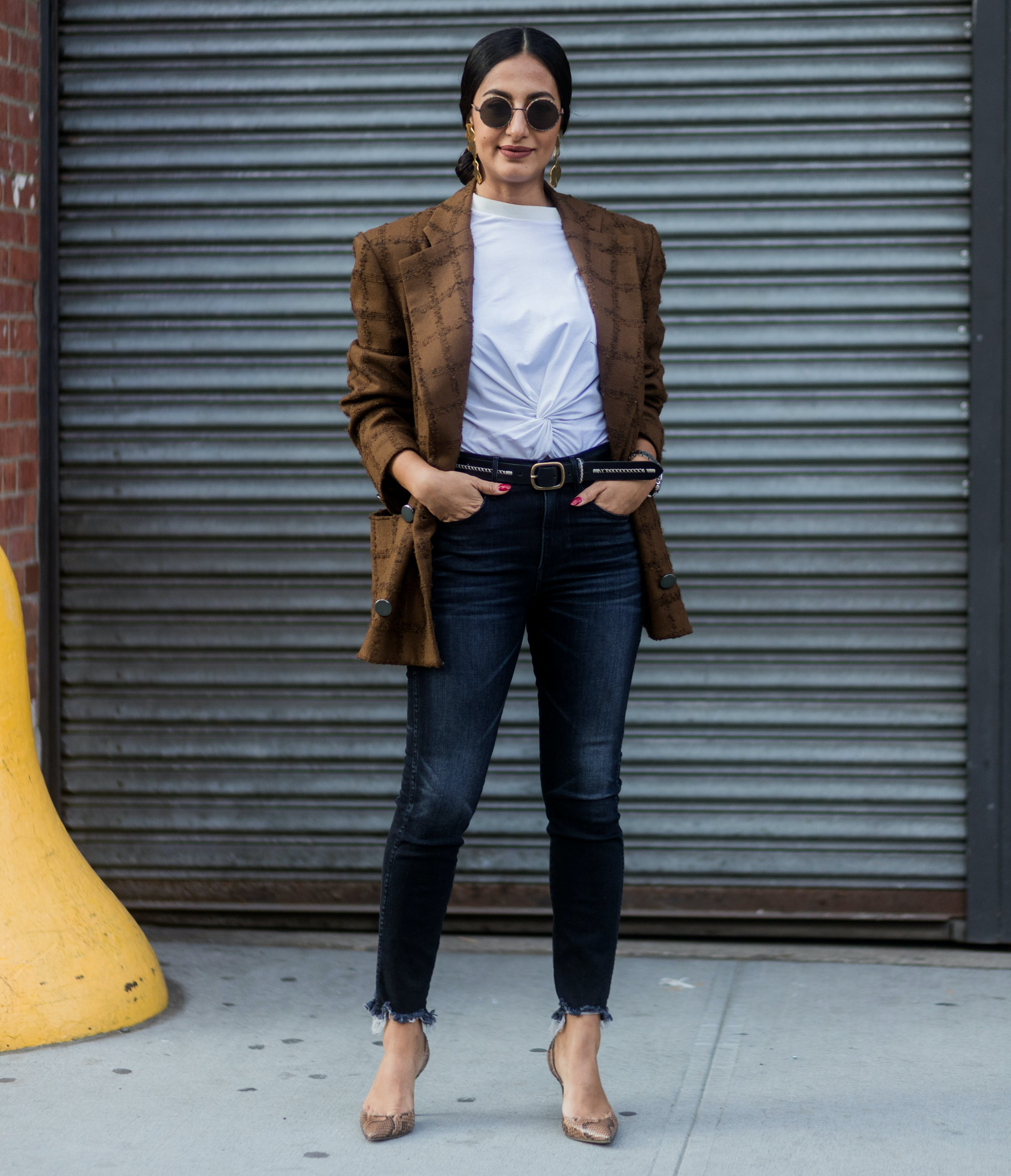 try a blazer with big 80s inspired shoulders